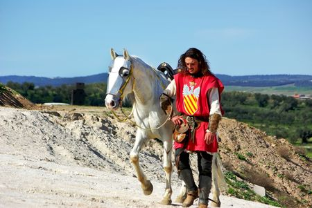 sword act: Historical reconstitution of the battle of the Atoleiros between Portugal and Spain.