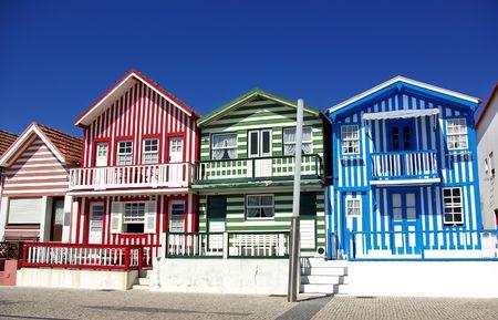 Typical  houses of Costa Nova, Aveiro, Portugal. photo