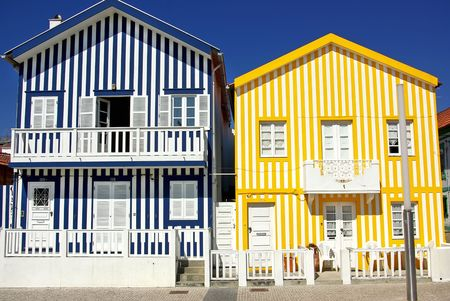 Typical  houses of Costa Nova, Aveiro, Portugal. photo