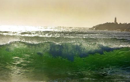 Green wave and lighthouse.