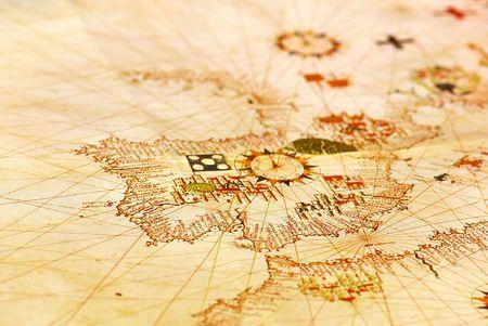 Portugiesisch alte Karte bei Europa. Standard-Bild - 8203767
