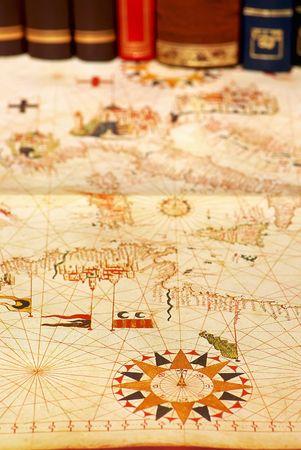 portuguese: Portuguese old map and books. Stock Photo