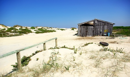 Fishing hut in portuguese beach. Stock Photo - 8965350