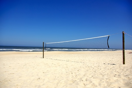 Volleyball nets in beach. Stock Photo