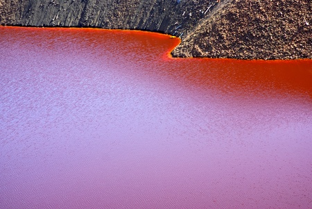 abandoning: Water contaminated in the lagoon of Mine S. Domingos, Portugal.