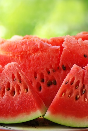 watermelon slice: slices of red watermelon