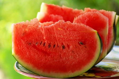 watermelon: slices of red watermelon