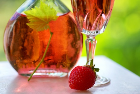 Glass of rose wine and strawberry. Stock Photo - 9870731
