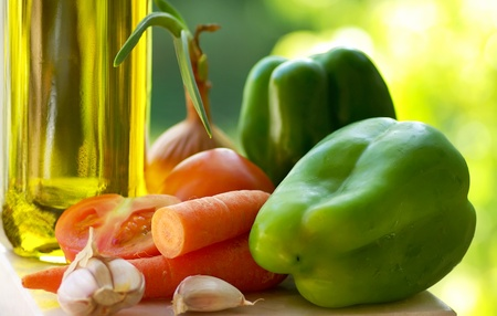 minestrone: olive oil and vegetable ingredients. Stock Photo
