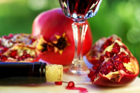Pomegranate and red wine. photo