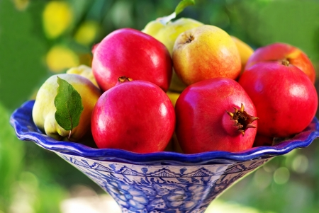 pomegranate and quince basket fruits Stock Photo - 11536357