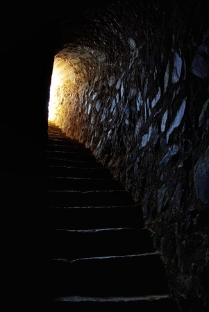 stone stairs: light at end of tunnel in portuguese castle