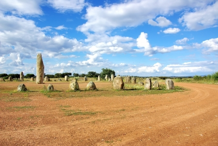 prehistory: Cromlech of Xerez near Monsaraz, Alentejo, Portugal Stock Photo