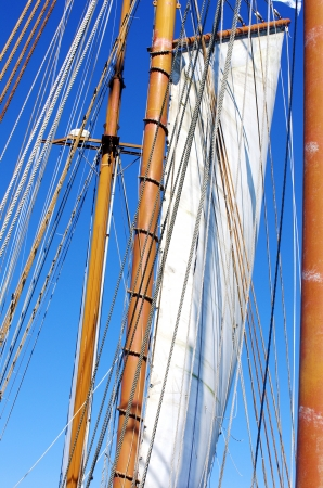 Old sailing ship masts and sails photo