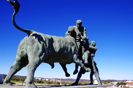 Portuguese bullfighting sculpture, Amieira village, Portugal photo