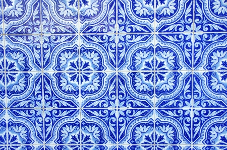Portuguese blue tiles close-up photo
