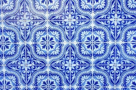 Portuguese blue tiles close-up