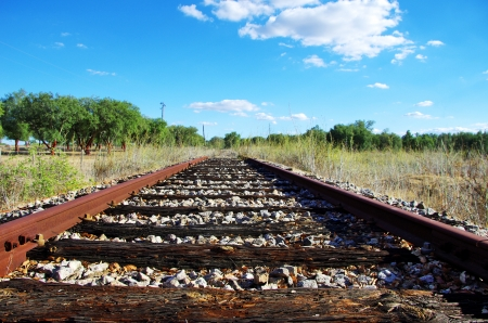 Old railroad at portuguese field photo