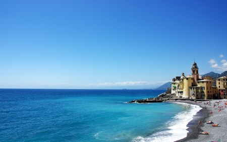 Landscape of Ligurian coast - Camogli, Italy photo