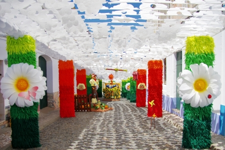 Flowers on streets, traditional party, Redondo village, Portugal. photo