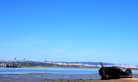 blue vessels: Old fishing boat at Seixal, Portugal  Stock Photo