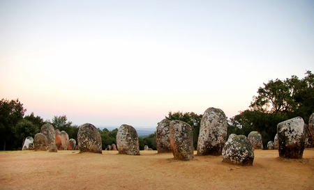 stoneage:  Cromlech of Almendres at sunset