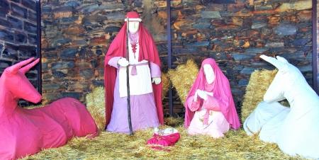 A nativity scene, creche,in village of Portugal photo