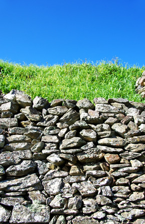 stones on wall texture , green and blue Stock Photo