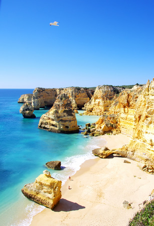barlavento:  Marinha Beach,  located on the Atlantic coast in Portugal, Lagoa , Algarve.