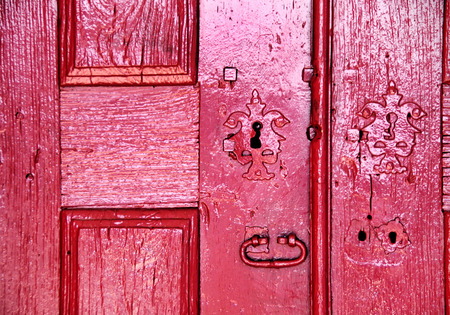 Door and lock in old house, Portugal photo