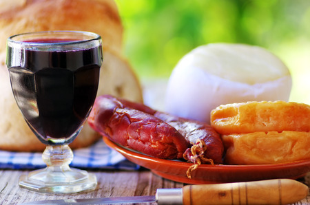 Portuguese bread, wine, cheese and chorizo