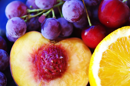 cherry varieties: Sliced peach,  grapes and other fruits