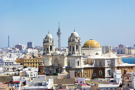 view of Cadiz Cathedral domes, Spain  photo