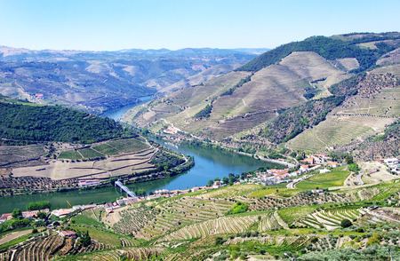 casal: View from the Douro valley, from Casal de Loivos Stock Photo