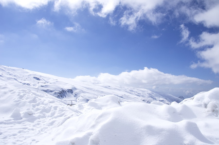 sierra nevada mountain range: Panorama of Snow Mountain Range Landscape with Blue Sky