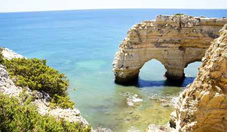 portugal: Rock cliff arches on Marinha beach ,Portugal Stock Photo