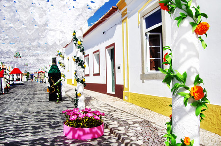 portugal: decorated street, traditional party, Redondo village