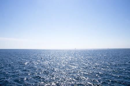 sea horizon: Blue sea in morning. Stock Photo