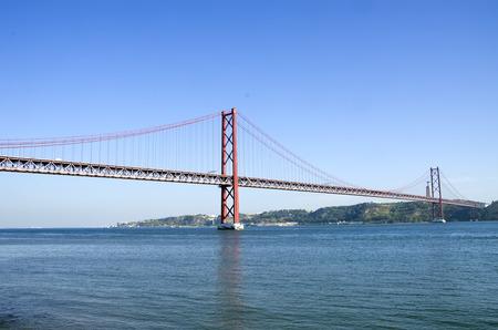 25th: bridge of 25th April over river Tajo, Portugal Stock Photo