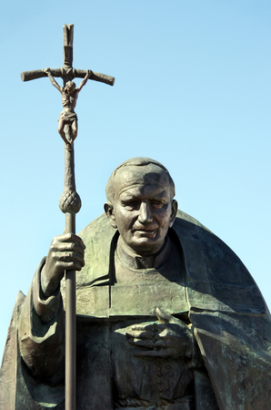 ii: bronze statue of Pope John Paul II