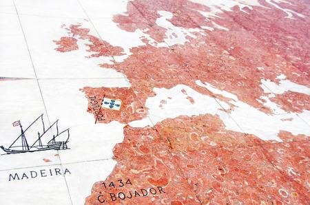 madeira: hemisphere map - mosaic on marble floor Stock Photo