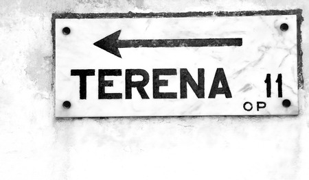 old sign: old marble road sign at Portugal Stock Photo