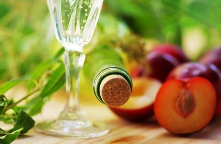 Closeup of wine bottle and wineglass