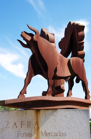 badajoz: statue of iron bull in Zafra, Extremadura, Spain