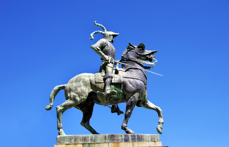 pizarro: equestrian statue of Francisco Pizarro, Trujillo, Spain Stock Photo