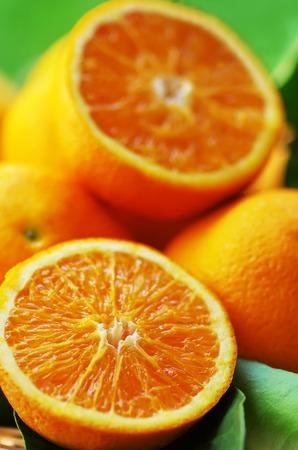 sliced orange: Fresh sliced orange slices close-up on basket