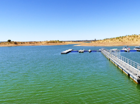 Floating dock in the reservoir of Alqueva, south of Portugal Stock Photo