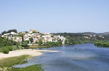 ribatejo: village of Constancia and blue river, Ribatejo, Portugal