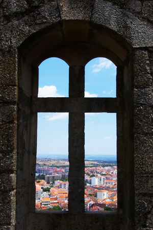 windows frame: Old window in castle at Portugal