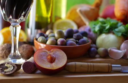 sliced fruits, olives and vegetables